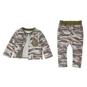 NWT Mud Pie Camo Reversible 3-Piece Set